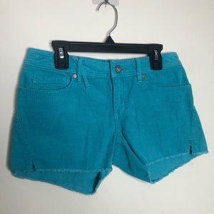 Roxy Teal Aqua Corduroy Shorts Boho Trendy 0 mini